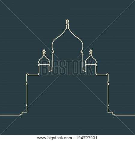 Cathedral of Christ the Savior in Moscow. Simple outline silhouette