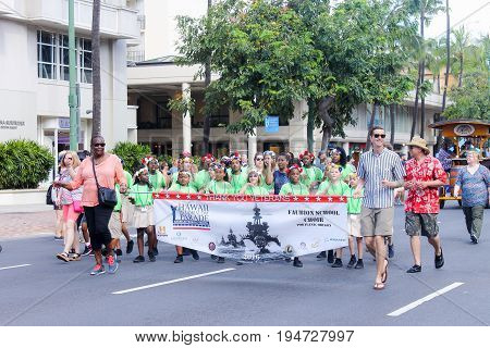 Honolulu Hawaii USA - May 30 2016: Waikiki Memorial Day Parade - Faubion School Choir representing Oregon
