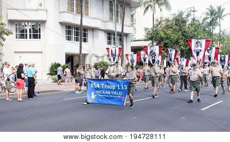 Honolulu Hawaii USA - May 30 2016: Waikiki Memorial Day Parade - BSA Troop 135
