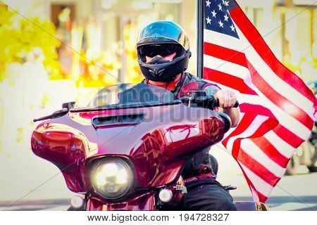 Honolulu Hawaii USA - May 30 2016: Waikiki Memorial Day Parade - A Biker in the Line Up in the Memorial Day Parade