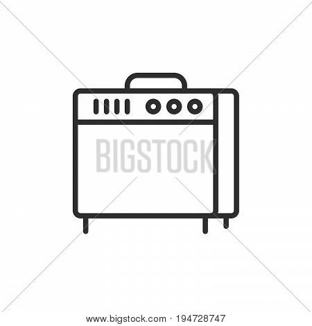 Instrument amplifier line icon outline vector sign linear style pictogram isolated on white. Guitar amp symbol logo illustration. Editable stroke