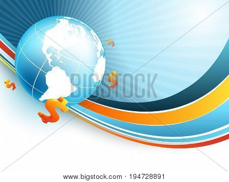 financial world vector background with globe and dollar signs. Elements for your design. Eps10