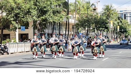 Honolulu, Hawaii - May 30, 2016: Waikiki Memorial Day Parade - Bagpipes in the line up