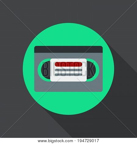Video cassette flat icon. Round colorful button Videotape circular vector sign logo illustration. Flat style design