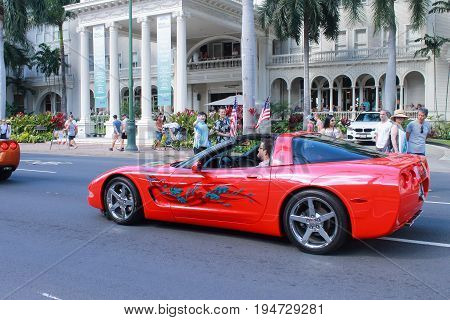 Honolulu, Hawaii - May 30, 2016: Waikiki Memorial Day Parade - Honolulu Hawaii USA - May 30 2016: Waikiki Memorial Day Parade