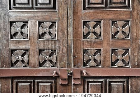 Old ancient wooden double door background. Vintage of old wooden double doors texture.