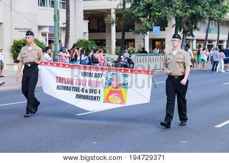 Honolulu, Hawaii - May 30, 2016: Waikiki Memorial Day Parade - Teila Tuli also known as Taylor Wily is an American actor and a former sumo wrestler and mixed martial artist.