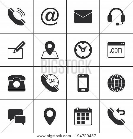 Contact vector icons set modern solid symbol collection filled style pictogram pack. Signs logo illustration. Set includes icons as map globe phone call clock handset message email call back