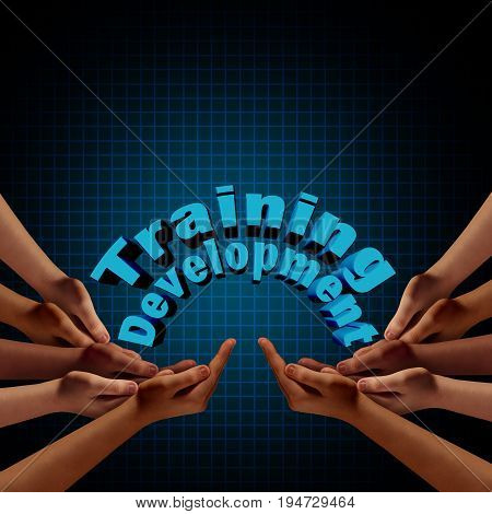 Training and development group as teams of hands coming together to support training and education with 3D illustration elements.