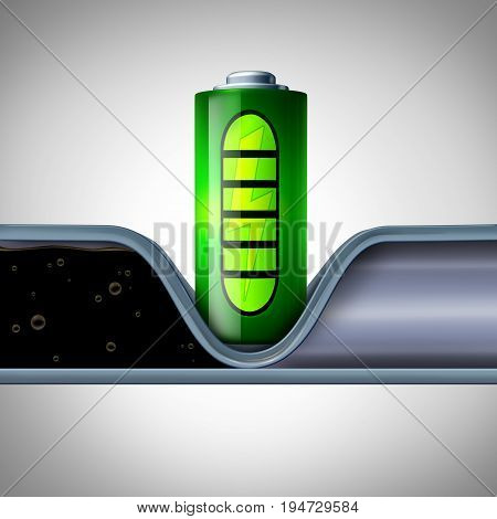 Battery technology disrupting oil industry and cutting fossil fuel concept as a electric batteries symbol blocking a petroleum or gasoline pipeline with renewable lithium ion or graphene charging technologies as a 3D illustration.
