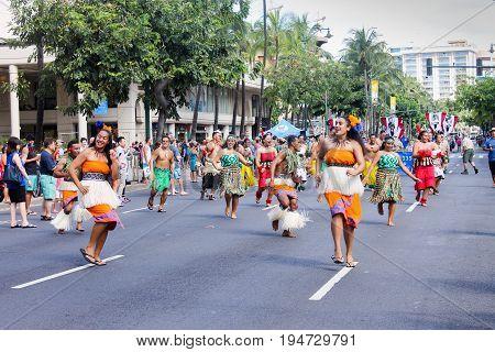 Honolulu, Hawaii - May 30, 2016: Waikiki Memorial Day Parade - Polynesian Cultural Center Performers