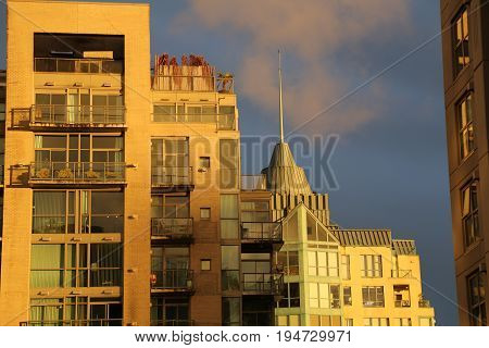Sunset highrise buildings backdrop Vancouver Canada downtown