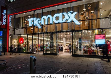 STUTTGART GERMANY- MARCH 16 2016: The historic shopping street in the central part of the city - Koenigstrasse (King Street) and a showcase well-known store TK Maxx.