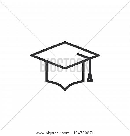 Graduation hat line icon outline vector sign linear style pictogram isolated on white. Mortarboard symbol logo illustration. Editable stroke