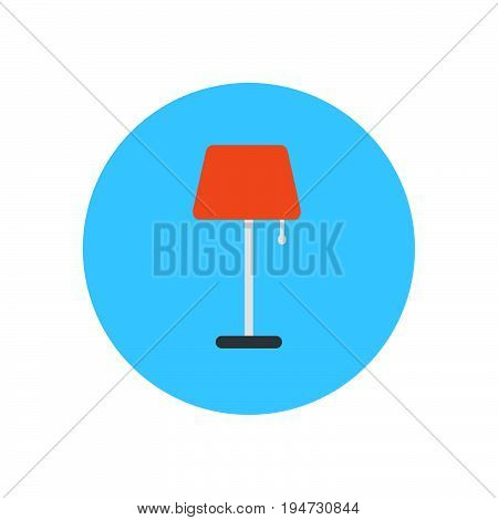 Floor lamp flat icon. Round colorful button circular vector sign logo illustration. Flat style design