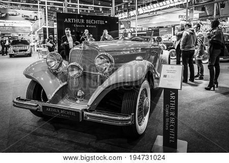 STUTTGART GERMANY- MARCH 17 2016: Luxury car Mercedes-Benz Typ 290 Roadster (W18) 1935. Black and white. Europe's greatest classic car exhibition