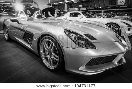STUTTGART GERMANY- MARCH 17 2016: Grand tourer car Mercedes-Benz SLR Stirling Moss (limited edition 75 vehicles) 2009. Black and white. Europe's greatest classic car exhibition
