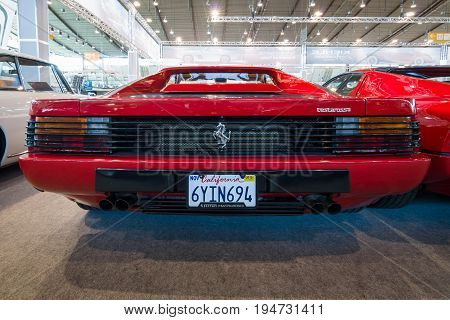 STUTTGART GERMANY - MARCH 17 2016: Sports car Ferrari Testarossa (Type F110) 1985. Rear view. Europe's greatest classic car exhibition