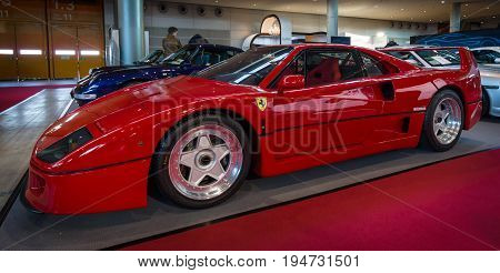 STUTTGART GERMANY - MARCH 17 2016: Sports car Ferrari F40 1989. Europe's greatest classic car exhibition