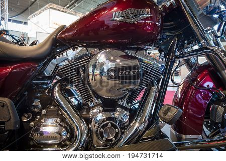 STUTTGART GERMANY - MARCH 17 2016: Fragment of a motorcycle Harley-Davidson Road King 2016. Europe's greatest classic car exhibition