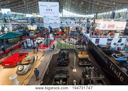 STUTTGART GERMANY - MARCH 17 2016: One of the exhibition halls. View from above. Europe's greatest classic car exhibition