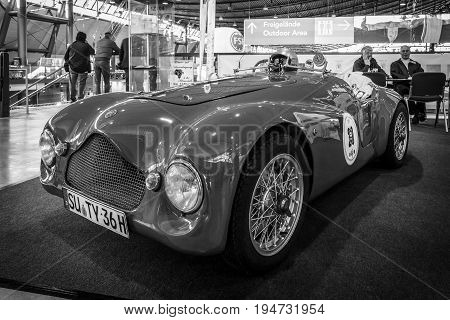 STUTTGART GERMANY - MARCH 17 2016: Sports car based on the Fiat Topolino A body Barchetta Corsa 1950. Black and white. Europe's greatest classic car exhibition