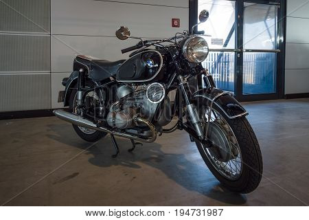 STUTTGART GERMANY - MARCH 17 2016: Motorcycle BMW R69S 1961. Europe's greatest classic car exhibition