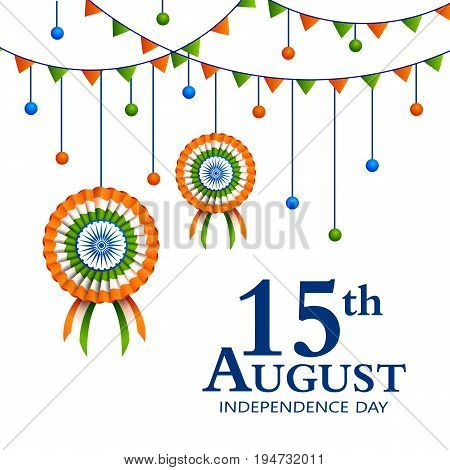 vector illustration of Indian tricolor badge and decoration for 15th August Happy Independence Day of India