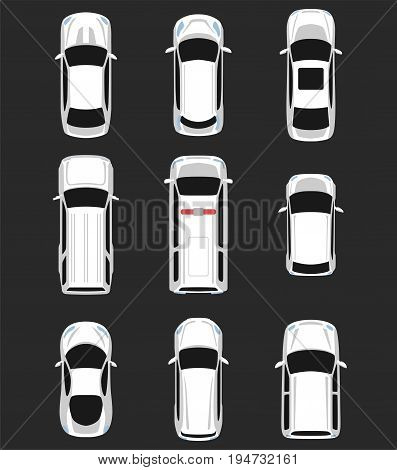 Set of cars top view for transportation theme. Includes sedan van wagon hatchback sportcar. Vector illustration