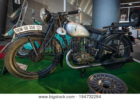 STUTTGART GERMANY - MARCH 17 2016: Motorcycle DKW SB 350 1935. Europe's greatest classic car exhibition