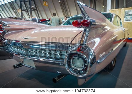 STUTTGART GERMANY - MARCH 17 2016: Fragment of Cadillac Coupe DeVille 1959. Europe's greatest classic car exhibition
