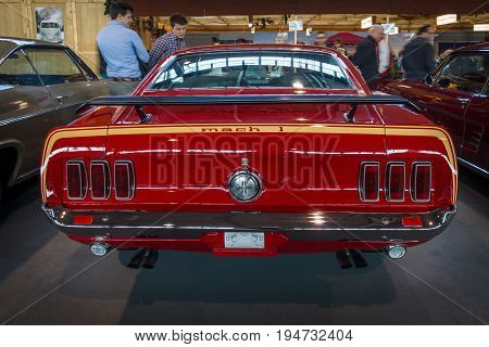 STUTTGART GERMANY - MARCH 17 2016: Pony car Ford Mustang Mach 1 Sportsroof 1969. Rear view. Europe's greatest classic car exhibition