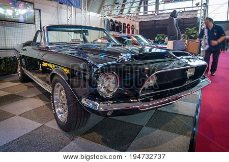 STUTTGART GERMANY - MARCH 17 2016: Pony car Shelby Cobra GT 350 Convertible Tribute 1968. Europe's greatest classic car exhibition