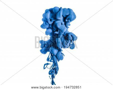Ink swirl in a water, isolated on white background. The blue paint in the water. Soft dissemination a droplets of colored ink in water close-up. Explosion of color splashes acrylic ink.