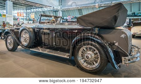 STUTTGART GERMANY - MARCH 17 2016: Full-size luxury car Mercedes-Benz 770K Cabriolet D (W07) 1931.Rear view. Europe's greatest classic car exhibition