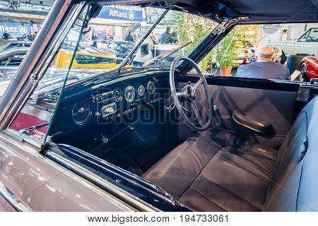 STUTTGART GERMANY - MARCH 17 2016: Cabin of luxury car Hotchkiss Anjou 2050 Cabriolet by Worblaufen 1950. HDRi. Europe's greatest classic car exhibition