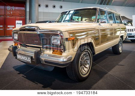 STUTTGART GERMANY - MARCH 17 2016: Full-size SUV Jeep Wagoneer (SJ). Europe's greatest classic car exhibition