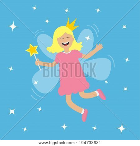 Tooth fairy flying wings. Smiling teeth mouth. Girl holding star magic wand. Shining fairy dust. Cute baby teeth cartoon character in crown. Smiling woman. Blue background. Isolated Flat design Vector