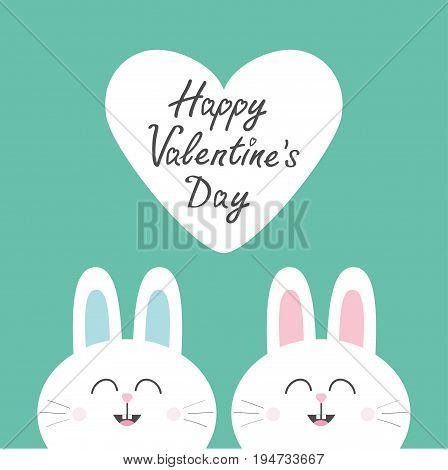 Two white bunny rabbit head couple set. Cute cartoon smiling character. Happy emotion. Baby greeting card. Happy Valentines day. Big heart. Green background. Flat design. Vector illustration