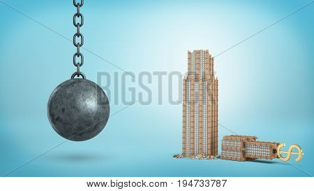 3d rendering of a black iron wrecking ball hanging beside a broken office building with a USD sign on its top. Loss of business. Company dissolution. Liquidation.