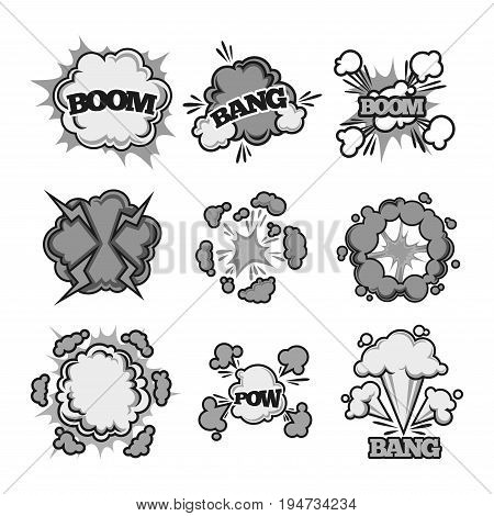 Boom, bang and pow bubble sound clouds for cartoon or comic book with explosions and puff blasts. Vector isolated flat icons set