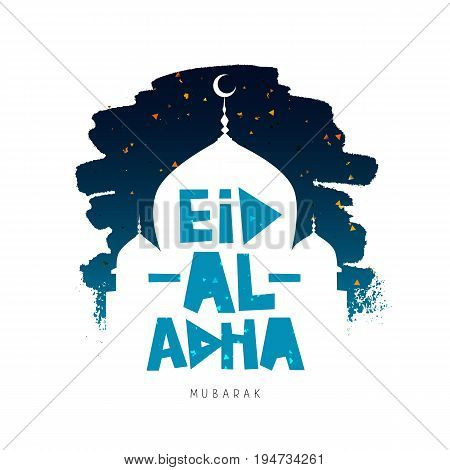Eid Al Adha Mubarak. Kurban-bairam. Islamic festival of sacrifice. Vector illustration on a white background with a smear of ink blue and confetti. A great holiday gift card.