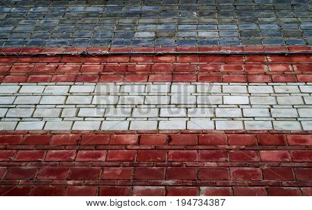 Brick wall. Brick, brick background, brick texture. Combined brick wall. Gray, white, red.