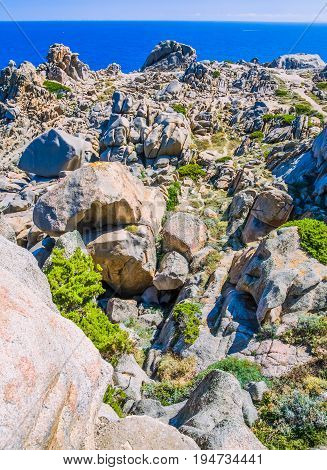 Bizarre granite rock formations in Capo Testa, Sardinia, Italy.