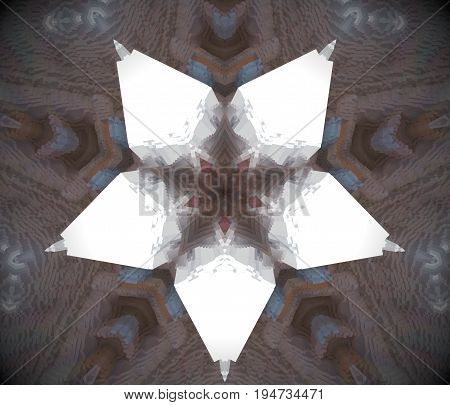 Abstract Extruded Mandala 3D Illustration White Star