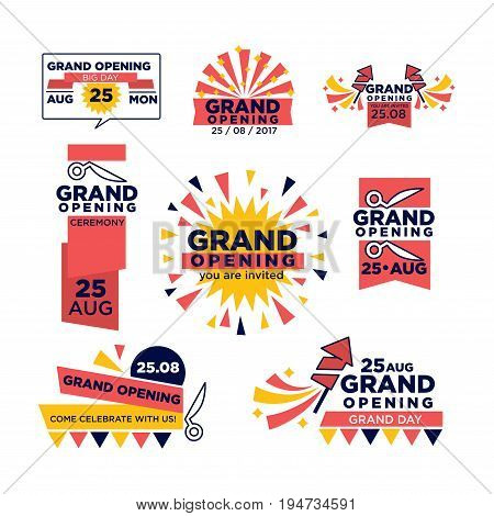Grand opening icons of red band ribbon and scissors cut for open festival or shopping event. Vector set of flags, stars or festive confetti and fireworks for 25 August