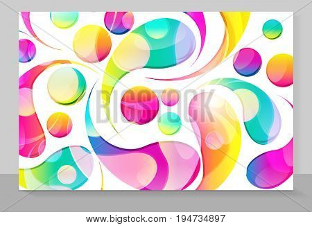 Cover copybook with abstract arc drops background.