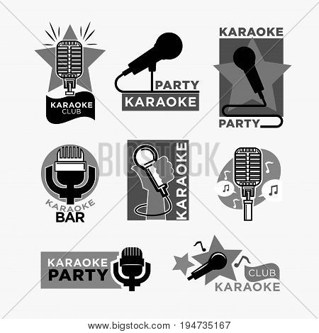 Karaoke club or bar party logo templates set. Vector labels of microphone, singing star and music notes isolated on white