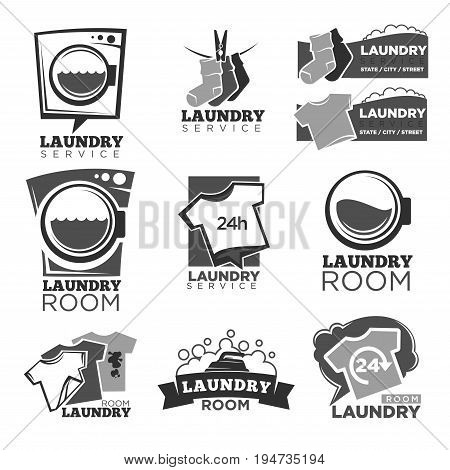 Laundry service or laundromat logo templates set. Vector labels of washing machine, soap bubbles in water splash and detergent foam with t-shirts and dirt stains on socks for 24 hours wash