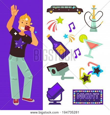 Night club party flat icons. Vector set of boy dancing and singing in microphone on dance floor, fashion limousine car, sunglasses or cocktail drink and music disco ball hookah shisha